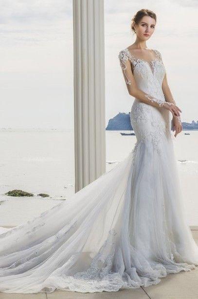 Robe de mari e sir ne manches et longue traine robe de mari e tendance pinterest - Robe de mariee sirene dentelle manche longue ...
