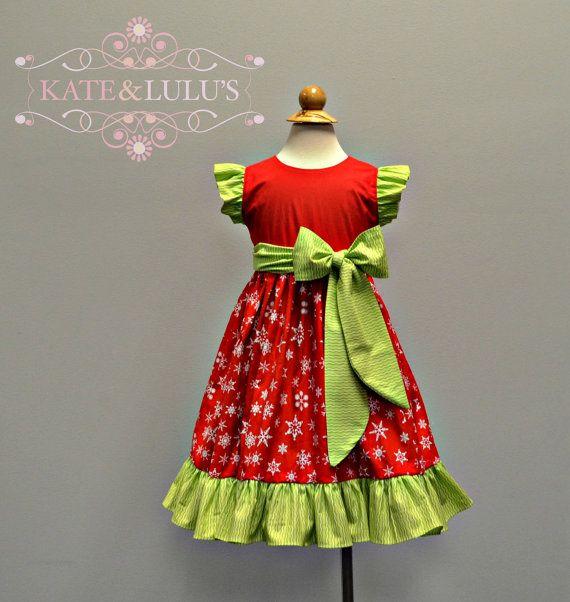 Girls beautiful red and Green christmas dress  by KateandLulu