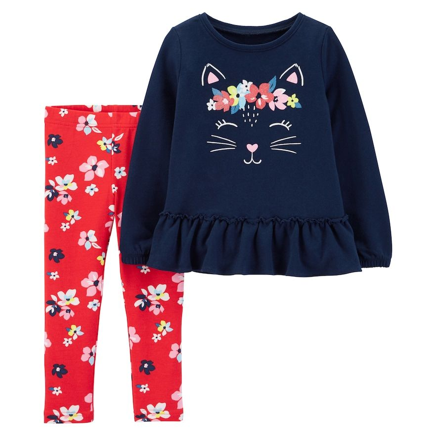 5e65e6e23 Baby Girl Carter's Cat Peplum-Hem Sweatshirt & Leggings Set, Size ...