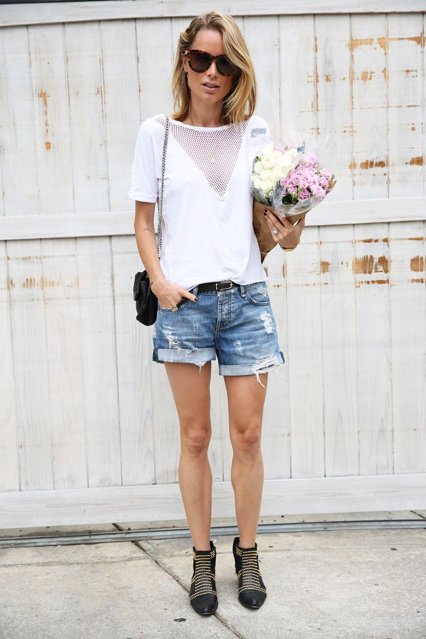 anine bing outfit shorts