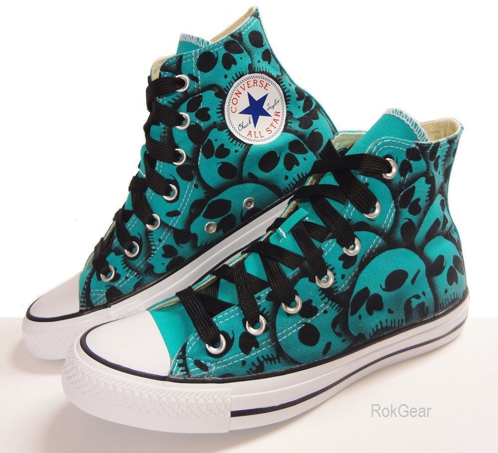 47203e405623 Skull Converse US Mens Size 6 - US Womens Size 8 Unique hand painted shoes  Blue  Converse  ChuckTaylor