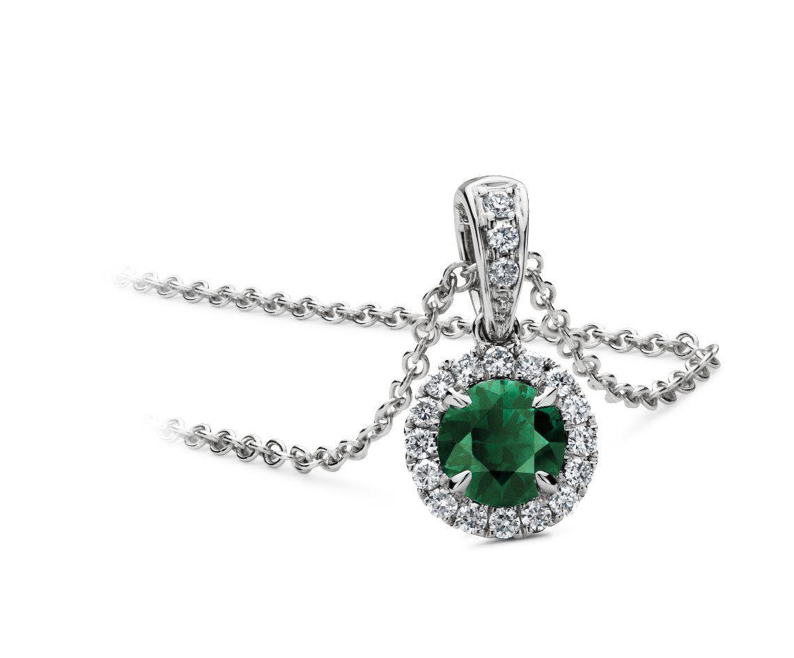 Emerald and Micropavé Diamond Pendant in 18k White Gold #BlueNile