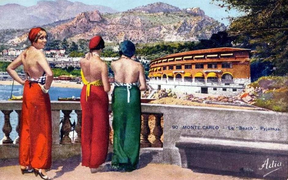 Beach pajamas at Monte Carlo, 1930s