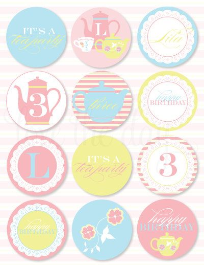 Welcome to Love The Day!    These CUSTOM PRINTABLE (DIY) party circles are perfect for your upcoming Tea Party.  Party materials can be printed at