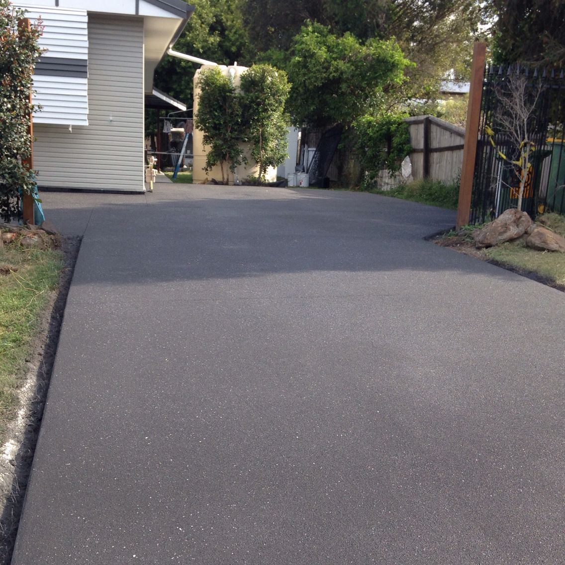 Color Resurfaced Concrete Driveway Graphite With A White Fleck Driveway Design Outdoor Paving Concrete Driveways