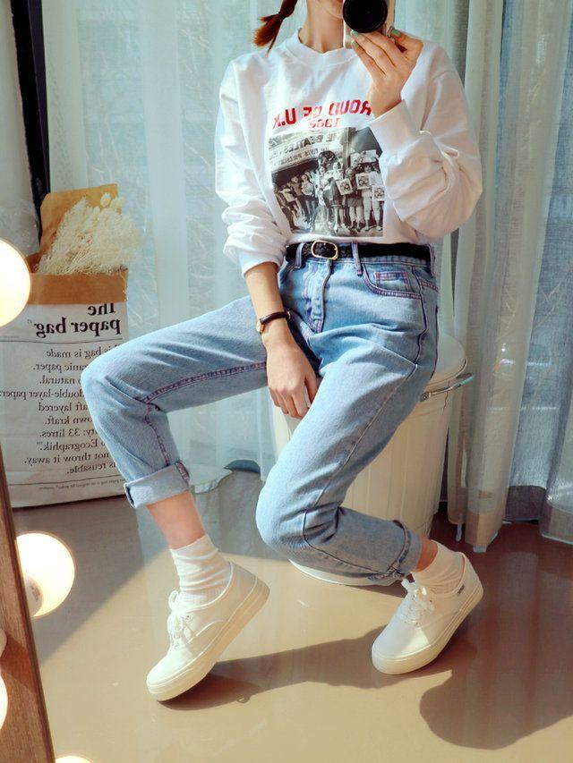 Korean Fashion Ootd Korean Fashion Pinterest Graphics Korean Fashion And White Sneakers