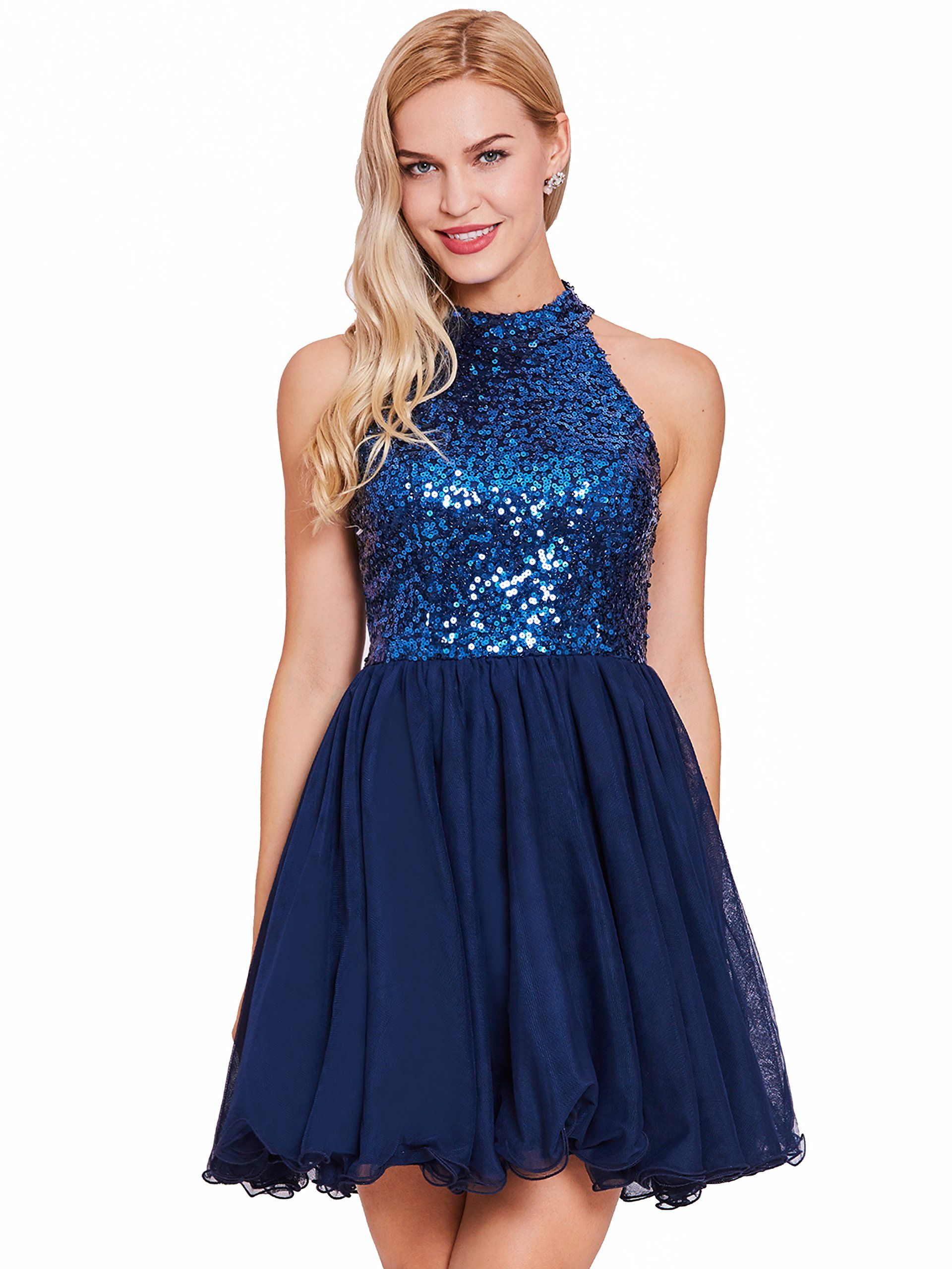 Tanpell womens a line sequins backless short prom gowns cocktail