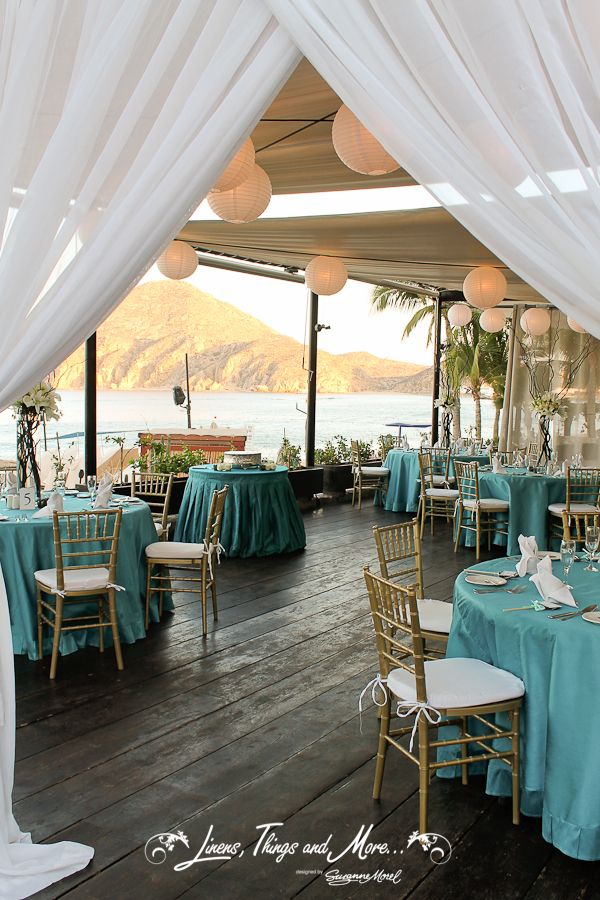 Wedding Decor Teal And Gold Pefect By The Ocean At Baja Cantina