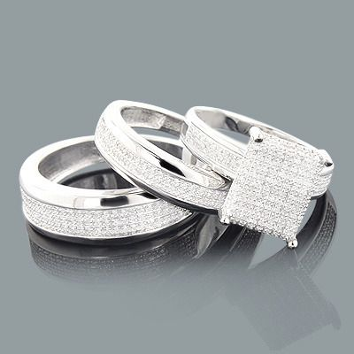 affordable trio ring sets this diamond wedding ring set in sterling silver consists of a - Sterling Silver Diamond Wedding Ring Sets