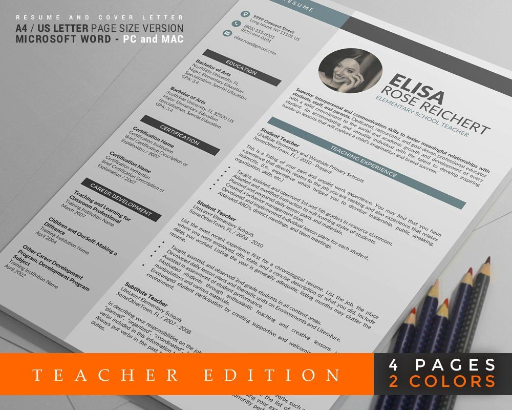 Teacher Resume Template Cv Template  Page Teacher Resume Design