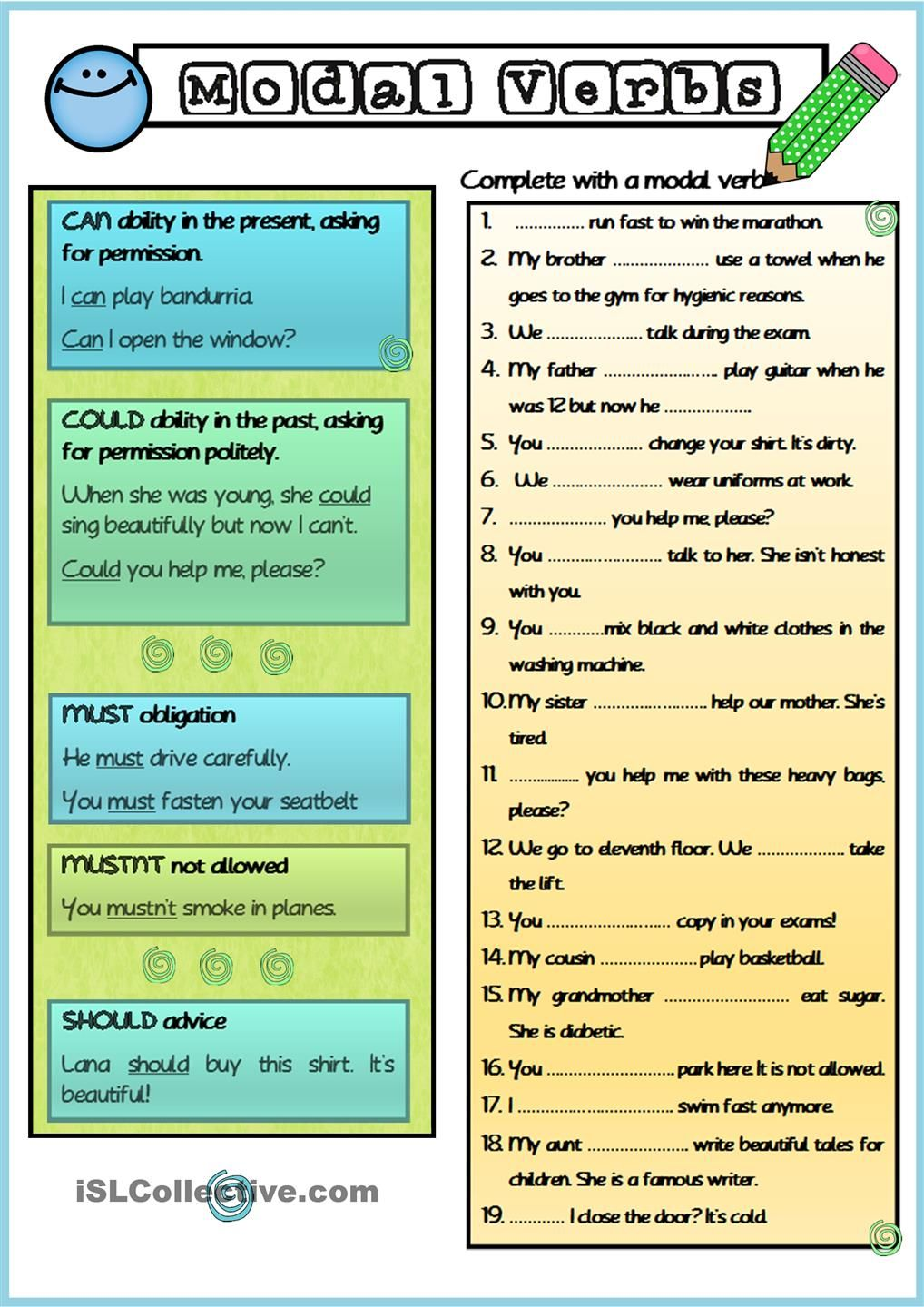 english spot abilities modal verb can worksheetmodal and t worksheet ...