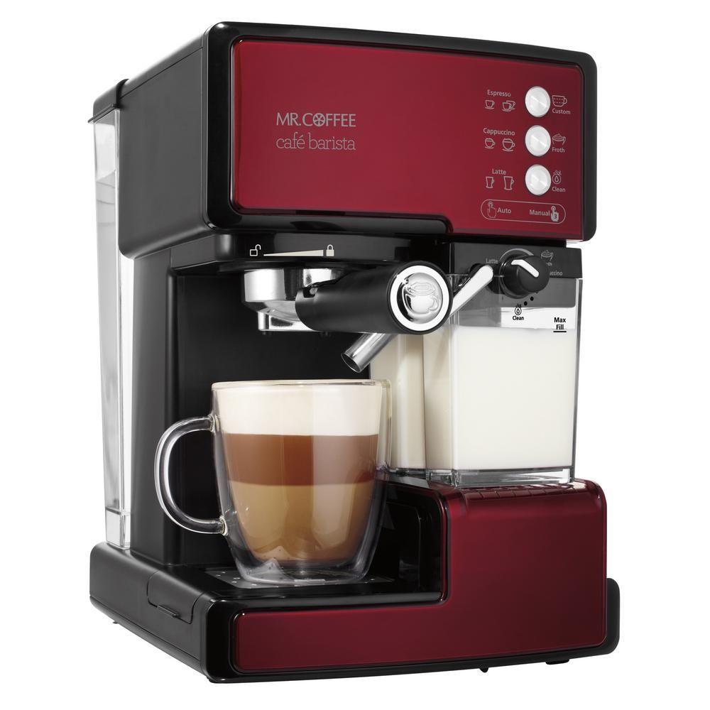 Mr. Coffee Cafe Barista Programmable Red and Black Single Serve Espresso Machine and Cappuccino Maker BVMC-ECMP1106 #cappuccinomachine