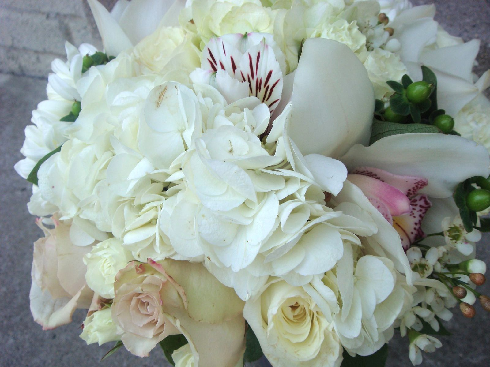 White hydrangea, orchids and roses