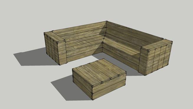 Loungebank van steigerhout met lage loungetafel 3d for Zelf loungeset maken