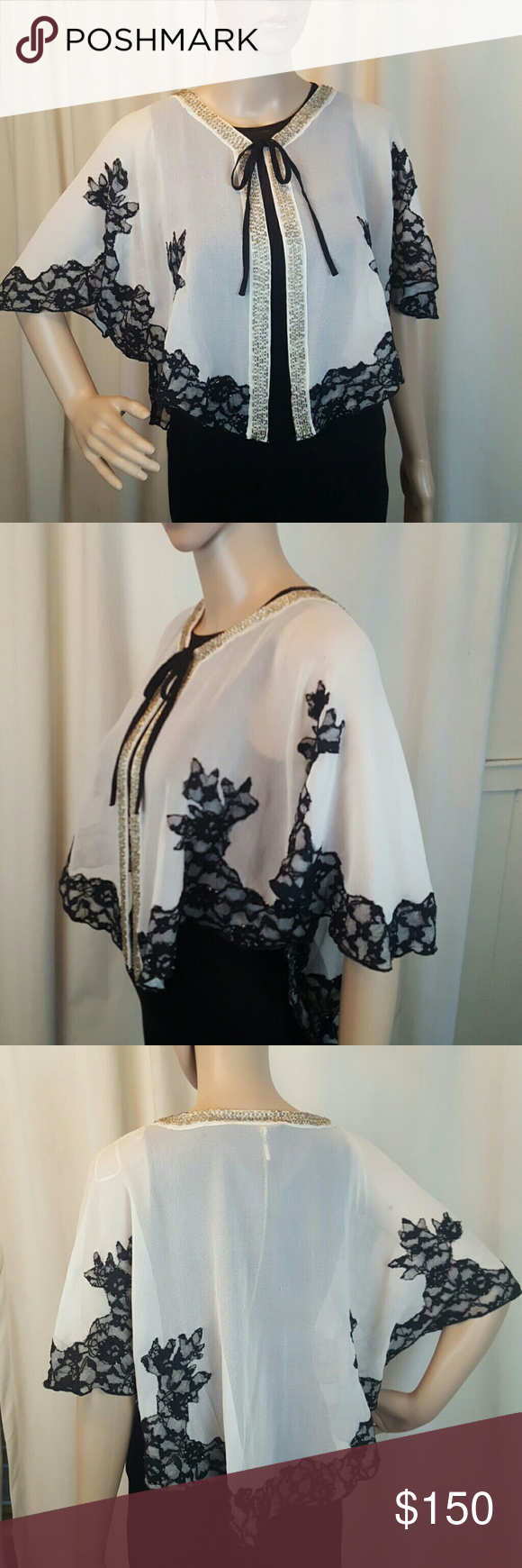 Romeo & Juliet Couture Cape Medium NWT ! $175.00 Romeo & Juliet Couture Cape Wrap Medium NWT ! $175.00  INCREDIBLE detail on this piece and it is stunning!!!  Hand beaded down the collar, hand sewn beads on the black lace, as well.   Brand new with tags attached!!!! Romeo & Juliet Couture Jackets & Coats Capes