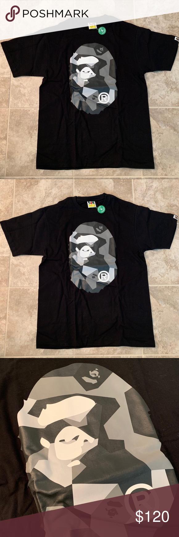 62face4a Bape black tee shirt- sold Black geometric camo print Bape shirt. Size  Large fits