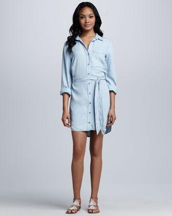 Chambray Tie-Waist Dress by Bella Dahl at Neiman Marcus.