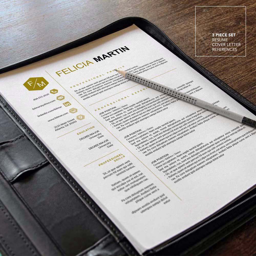 Creative Resume Template  Instant Download  Ms Office Mac And Pc