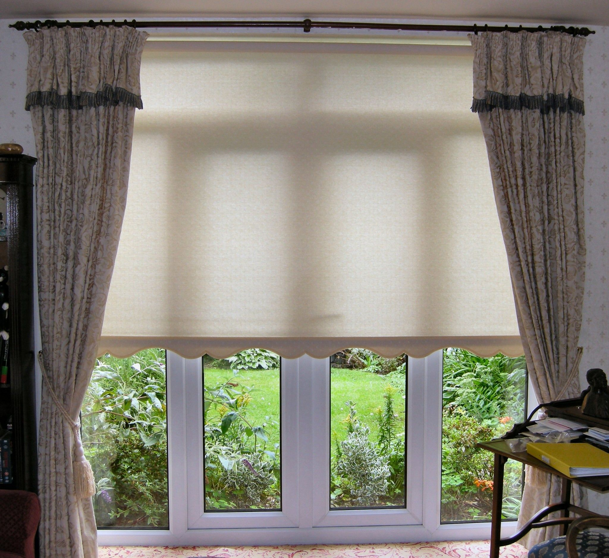 Interior White Shades for Patio Doors Decor With Tie Back Curtain