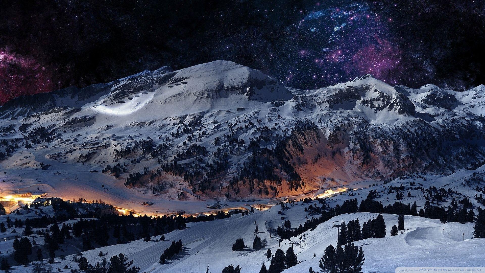 Night Sky Snow Wallpaper Reviews News Tips And Tricks Winter Wallpaper Hd Mountain Wallpaper Mountains At Night