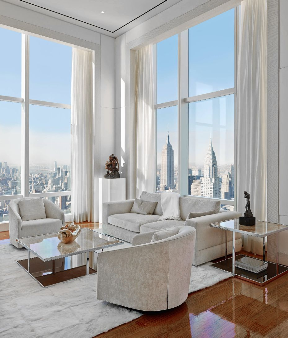 NYC penthouse with great view, large windows, swivel chairs ...