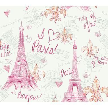 Girl Power 2 Paris Pink White Wallpaper Pw3910 Paris Wallpaper Pink Paris Wallpaper Wallpaper Cool pink paris wallpapers