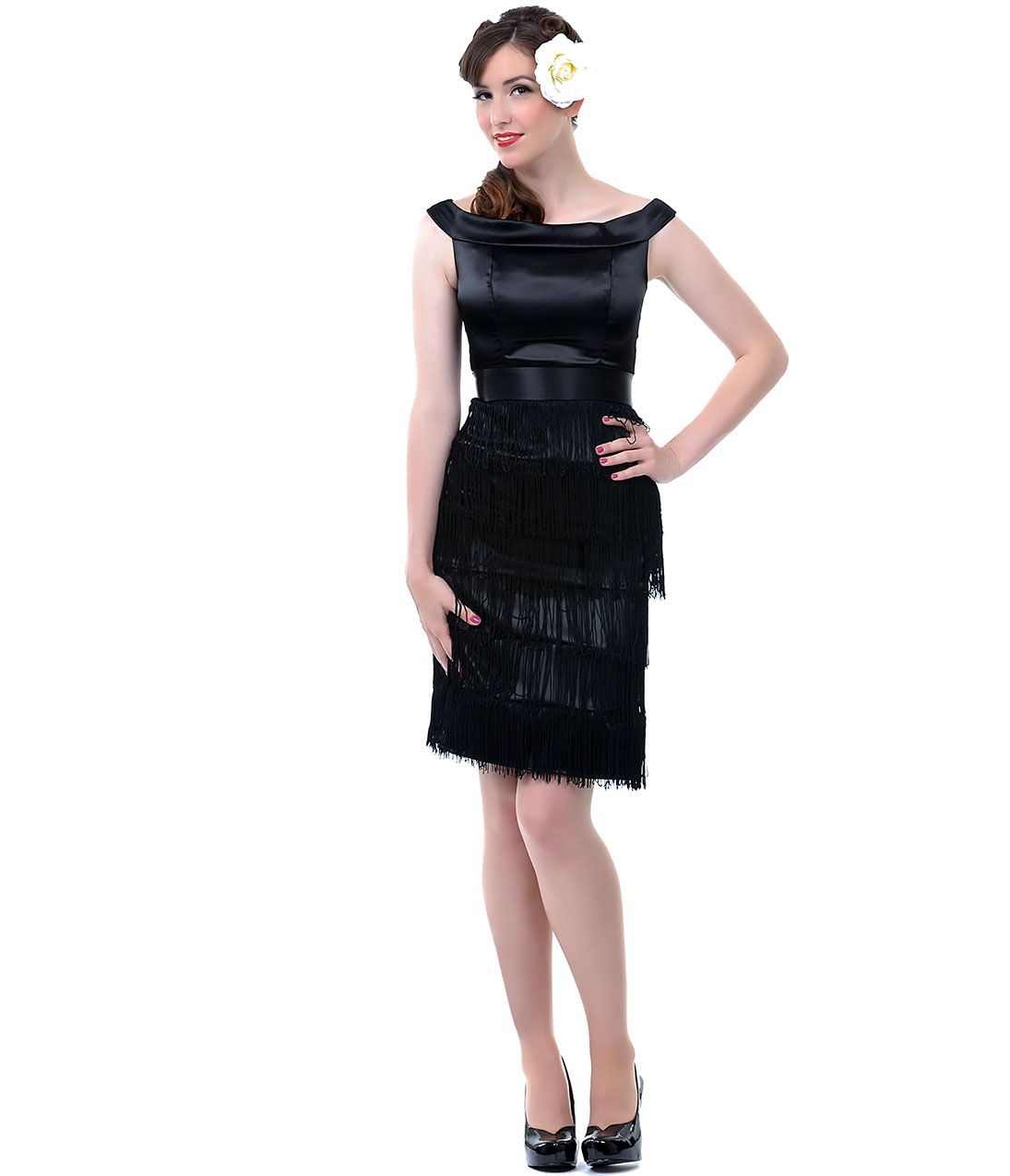 Queen of Heartz Black Fringe Lacey Gatsby Wiggle Dress- Unique Vintage