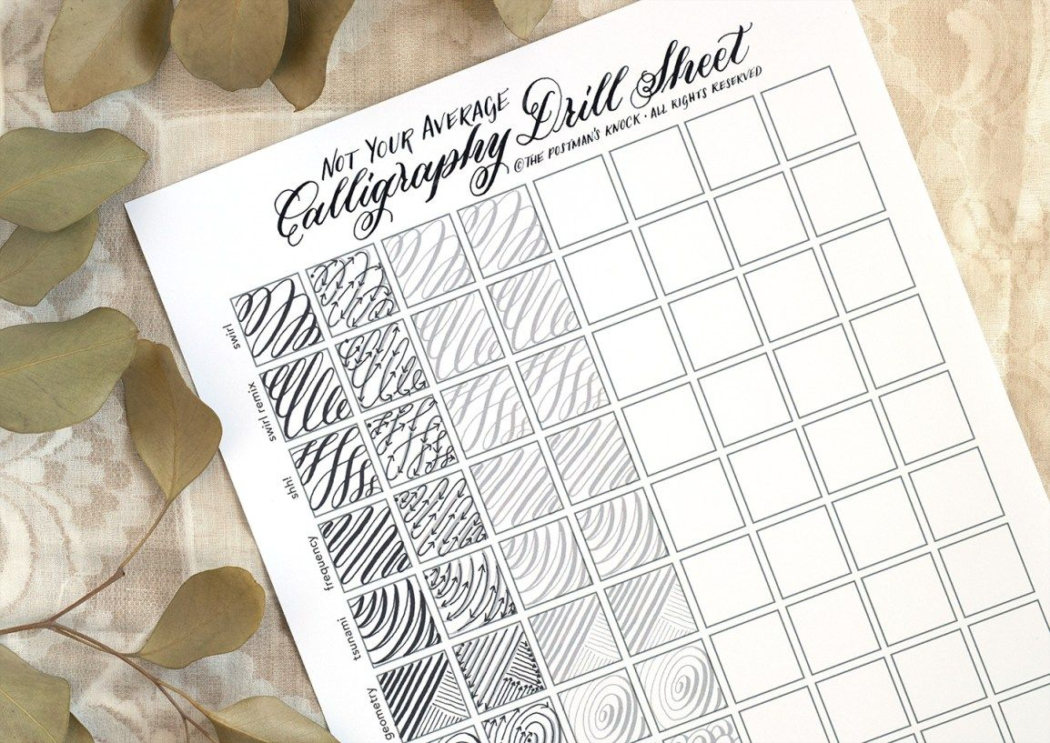 Not Your Average Calligraphy Drills Sheet