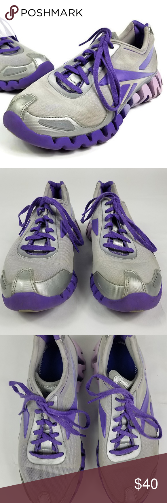 06f40ca836e75 Reebok ZIG ZAG Running Cross Training Shoes 8.5 Reebok Womens ZIG ZAG  Gray Purple Running Cross Training Shoes Size 8.5 Reebok Shoes Athletic  Shoes