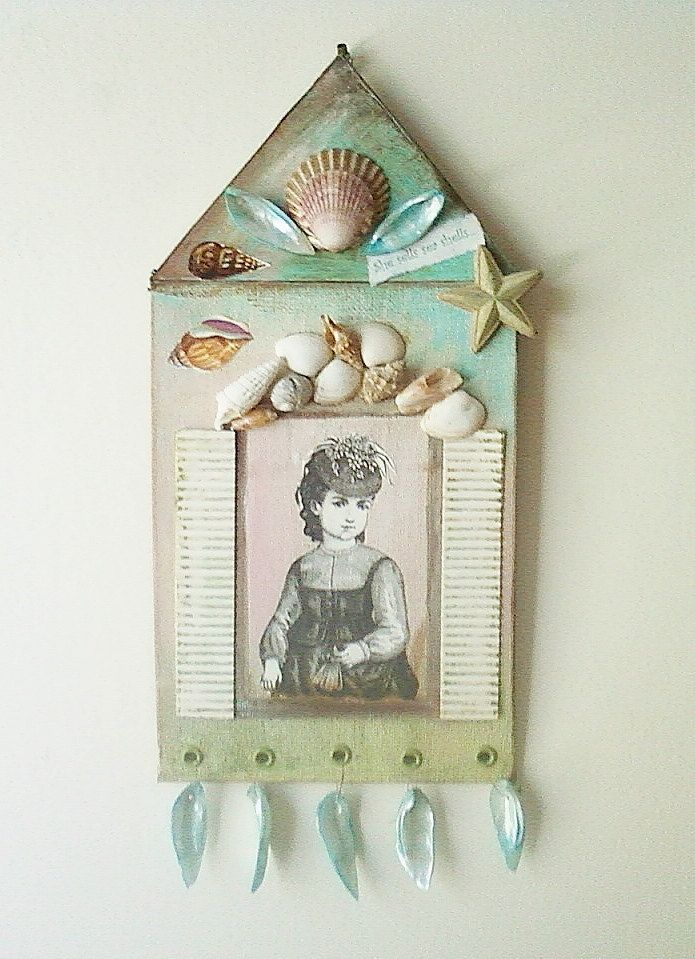 Seaside House Collage Art Wall Hanging by RobinsArtAndDesign, $35.00