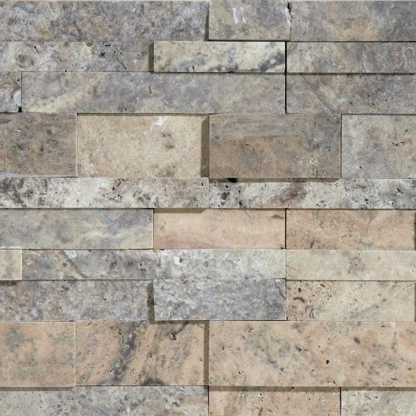 Ledger Stone Tile Silver Honed Beachwalk Fireplace