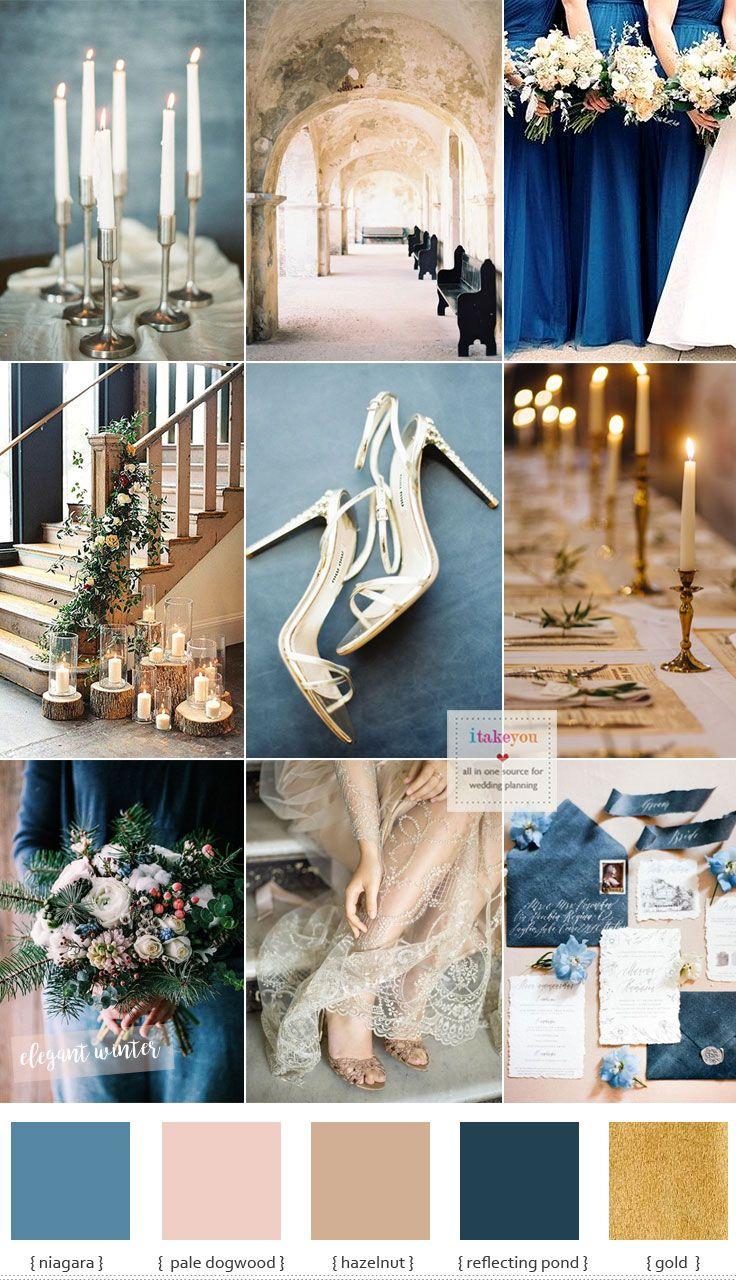 Blau und Goldhochzeitsthema für elegante Winterhochzeit   – wedding themes