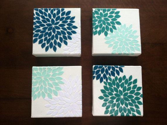 Flower Burst (Blue Oasis) 4 6 X 6 Inch Canvas Set