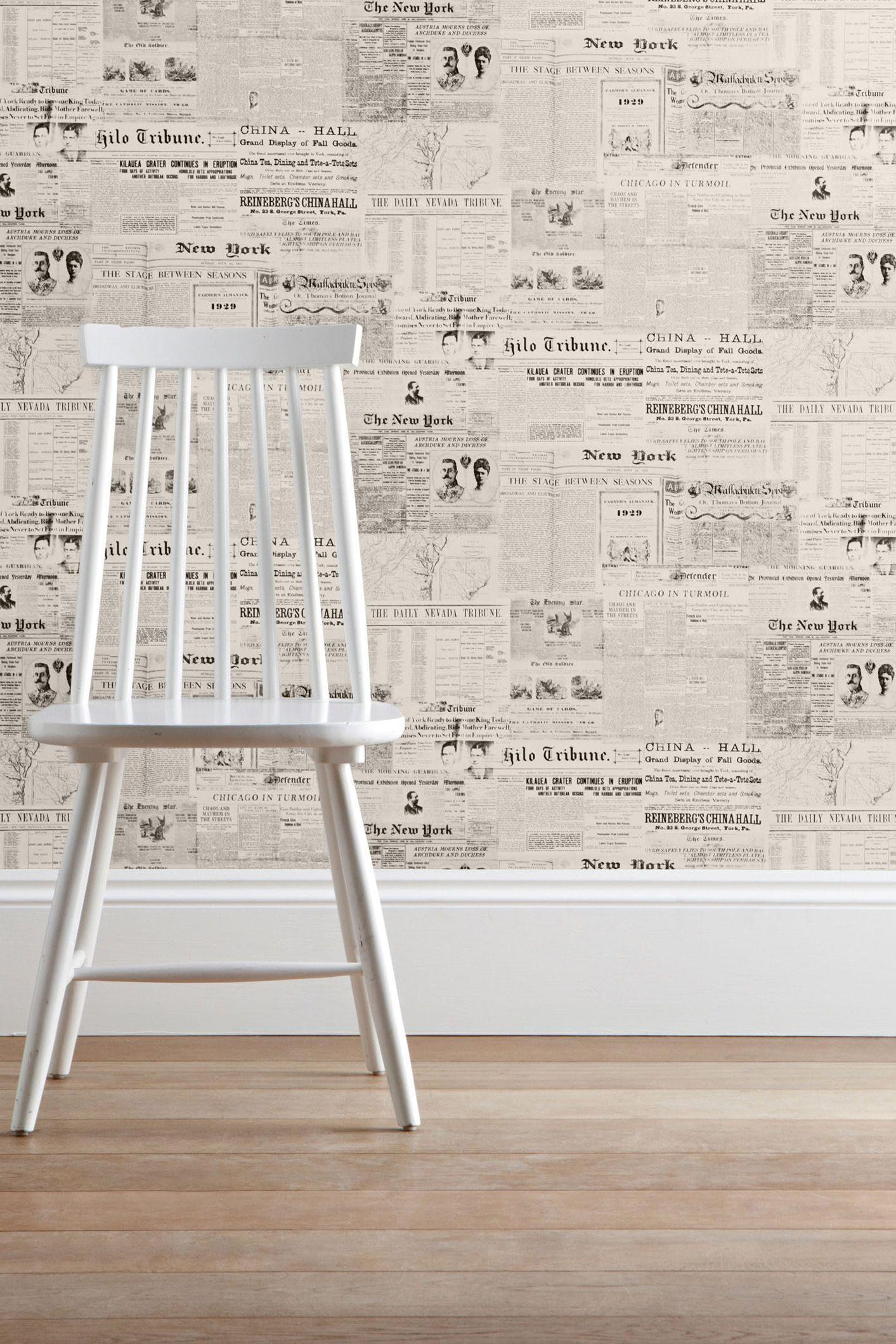 newspaper wallpaper from next pinteres. Black Bedroom Furniture Sets. Home Design Ideas