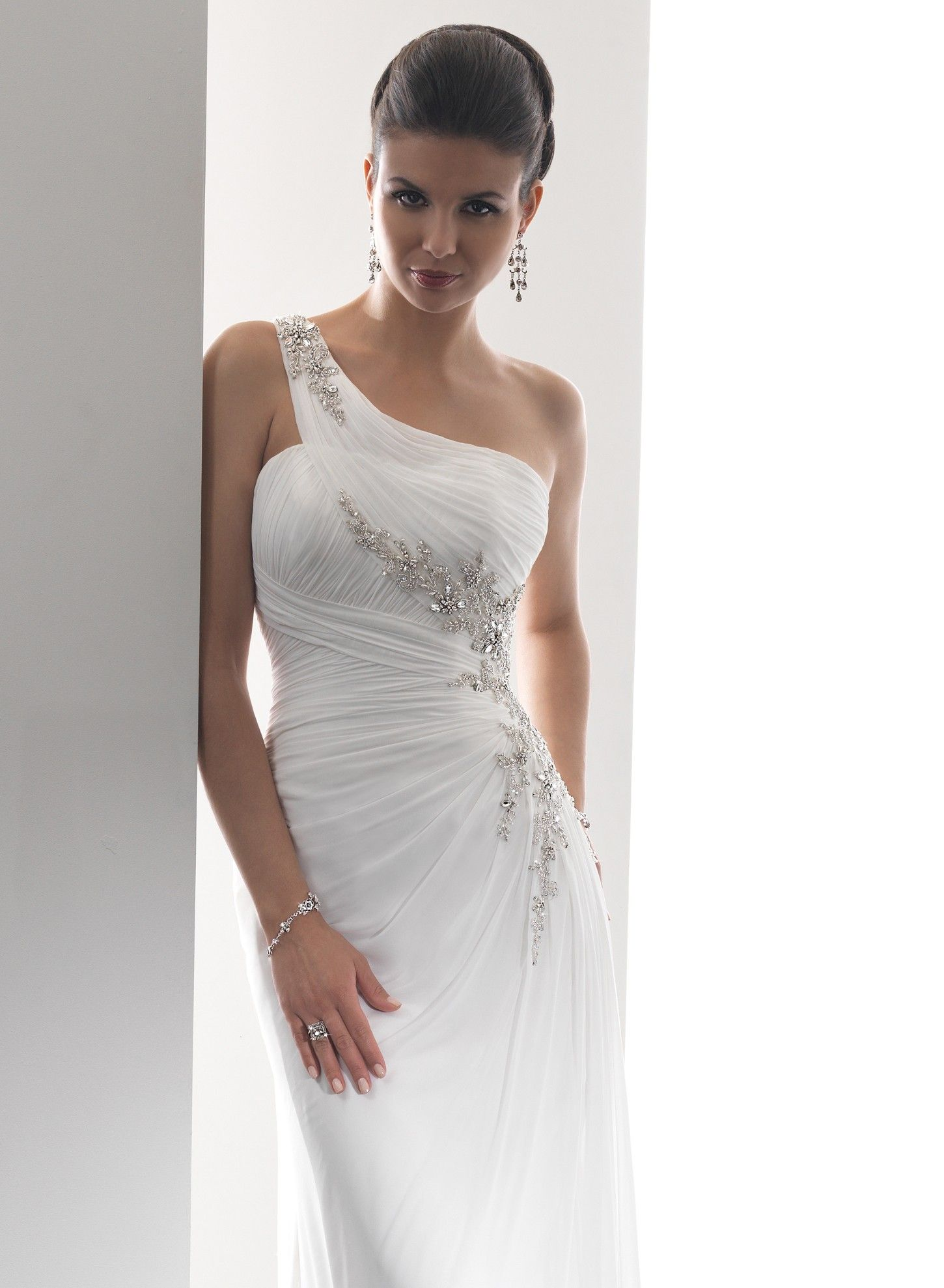 beaded wedding gown | ... Beaded Embellishments One-shoulder ...