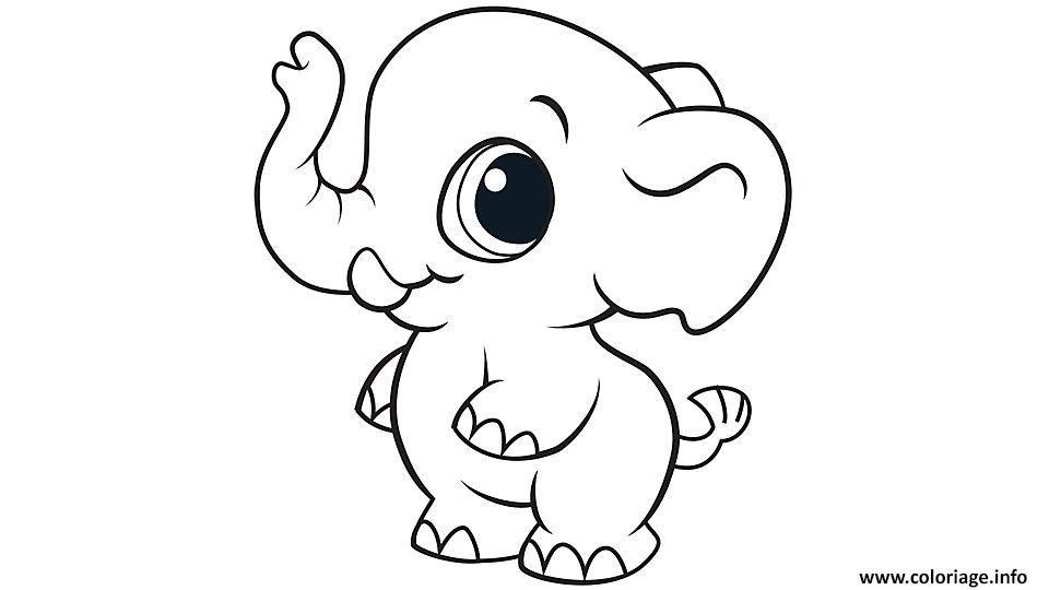 Coloriage elephant cute mignon animaux Dessin à Imprimer