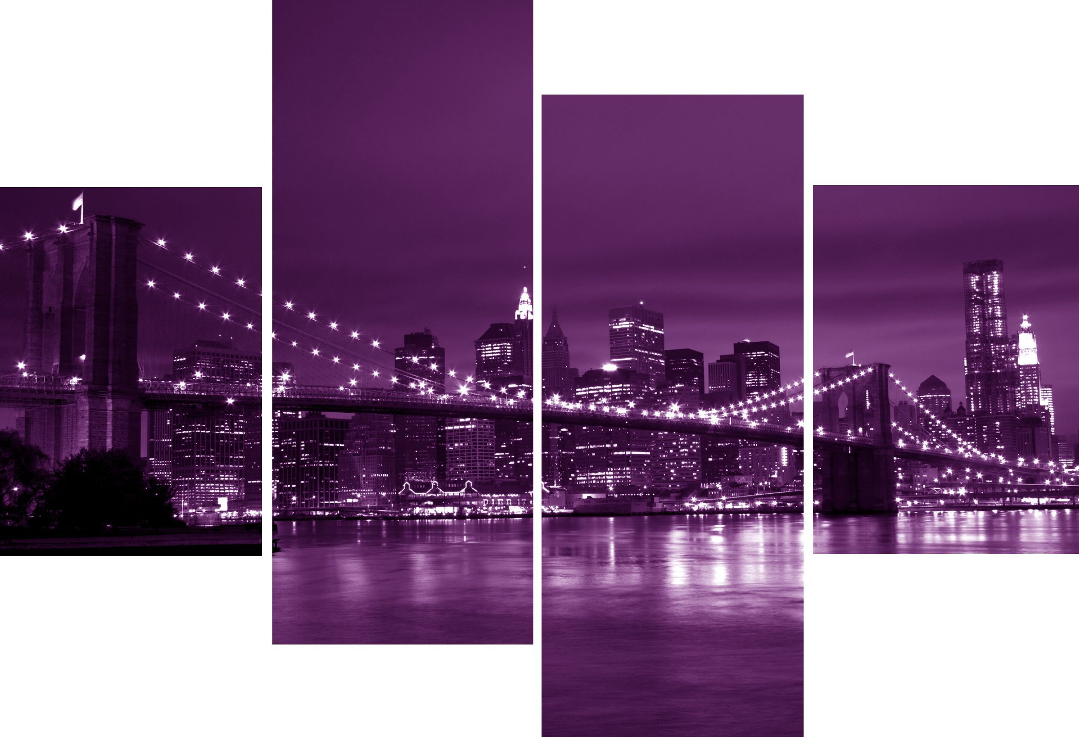Purple Canvas Wall Art large 4 panel set new york city bridge purple canvas pictures