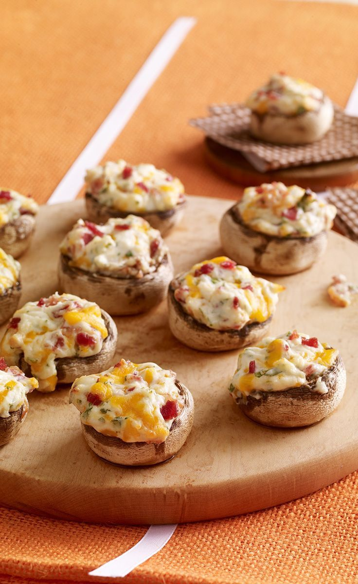 Cheese \'n Bacon Stuffed Mushrooms -- Ready for the oven after 15 ...