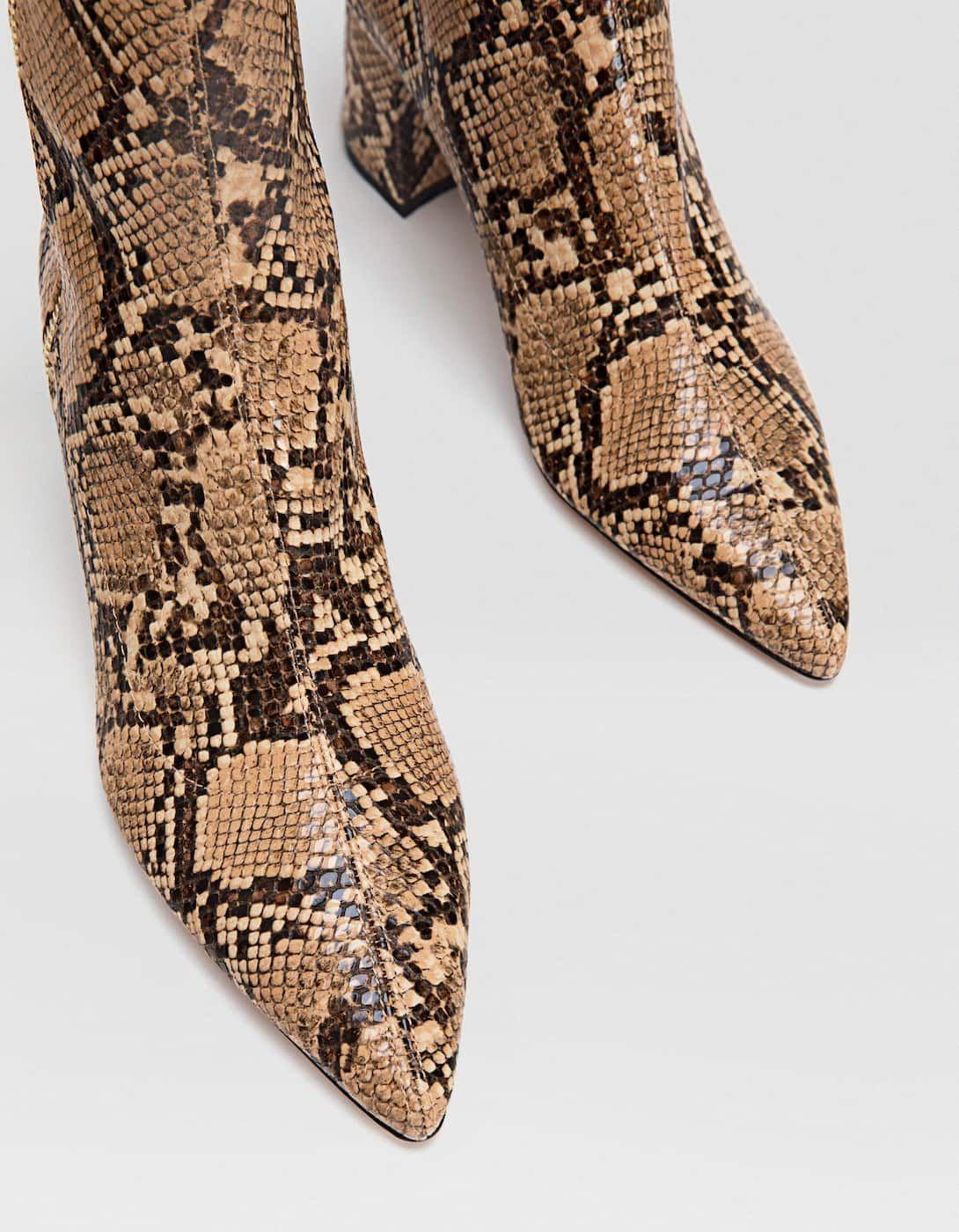 Botki Na Obcasie W Zwierzecy Wzor Botki I Kozaki Stradivarius Polska Dress Shoes Men Loafers Men Oxford Shoes