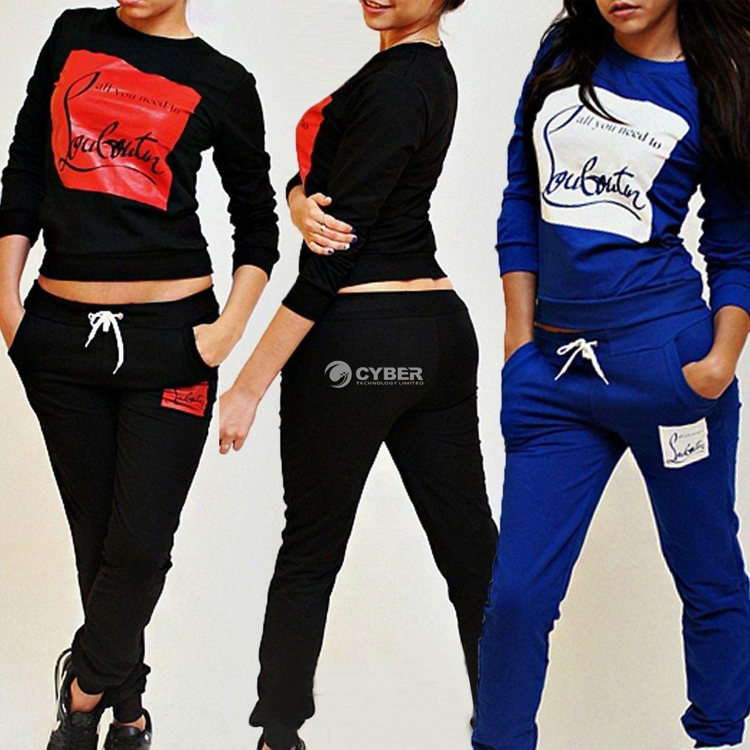 Womens Tracksuit Ladies Girls Sports Gym Sweatshirt Pants Trouser Jogging Hoodie