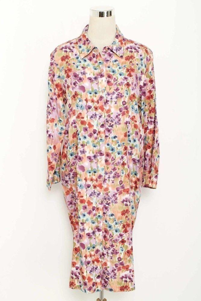 abad711f2662d6 Newport News Size 16 Multi-Color Floral Print Shirt Silk Shirt Dress 438  L116