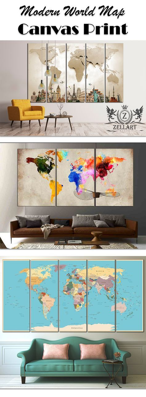 Unique extra large wall art related items Etsy wall arts - new world map canvas picture