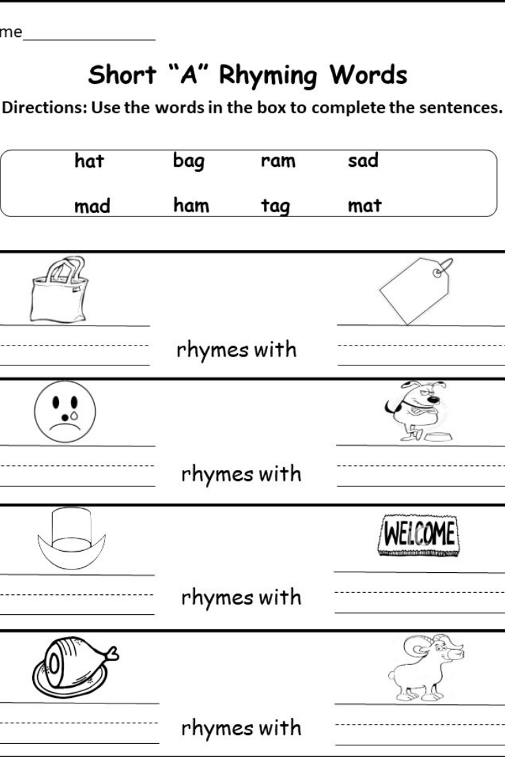 Kindergarten and First grade Summer Worksheets - kindermomma.com   Rhyming  words [ 1102 x 735 Pixel ]