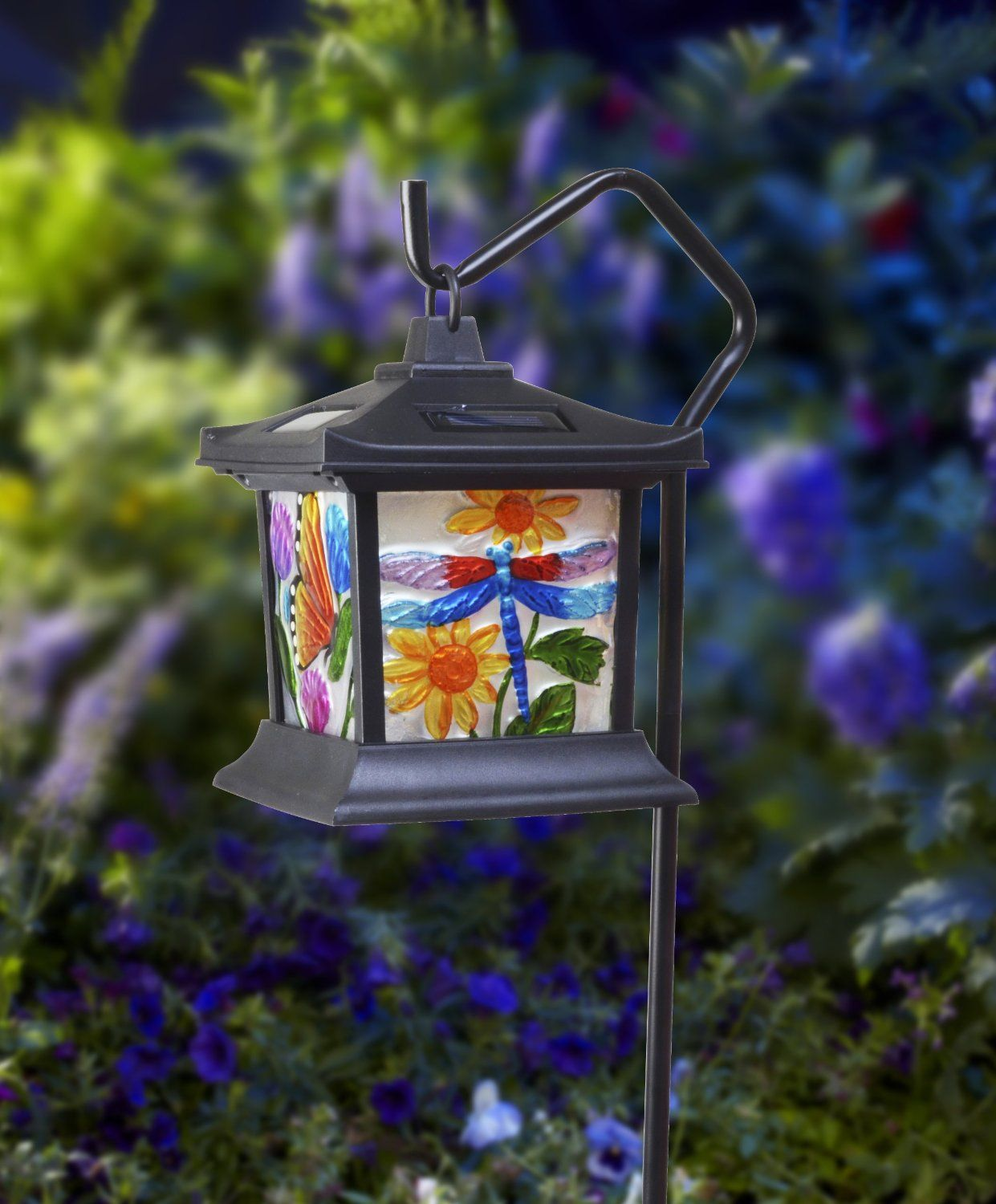 Charming Moonrays 92276 Solar Powered Hanging Floral Stained Glass LED Light      Amazon.com
