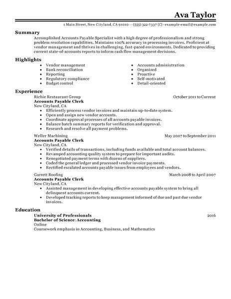 Accounts Payable Specialist Resume Examples Accounting \ Finance - bookkeeper resume objective