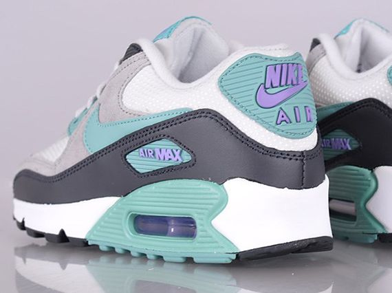 newest collection a188a ecfcc nike wmns air max 90 white navy teal purple Nike Womens Air Max 90 Light  Base Grey Diffused Jade