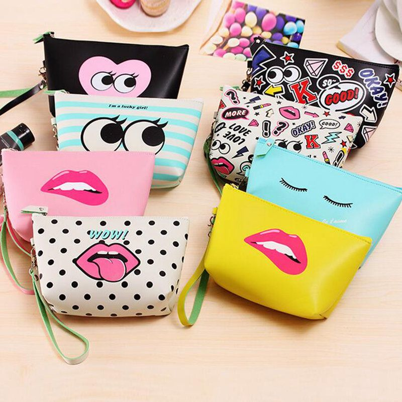 1583db8c2e Girl PU Original Cosmetic Cases Cute Waterproof Mack Up Bag Modern  Character Clutch Bag Daily Fashion Casual