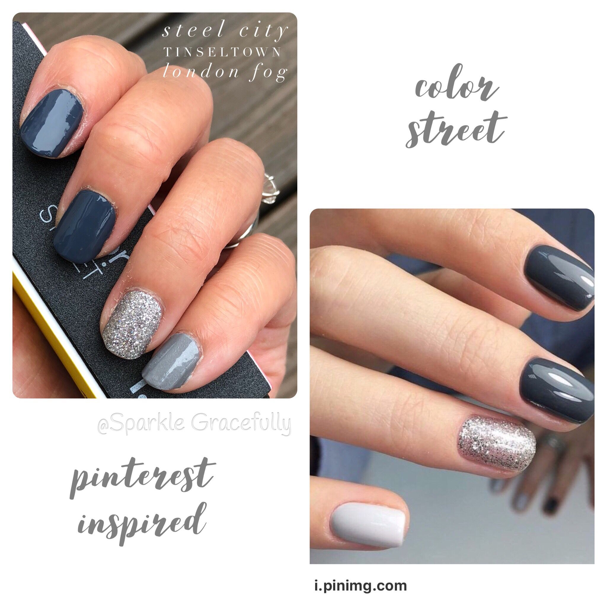 Color Street Fall Nails Steel City Tinseltown London Fog Color Street Nails Nails Halloween Nails