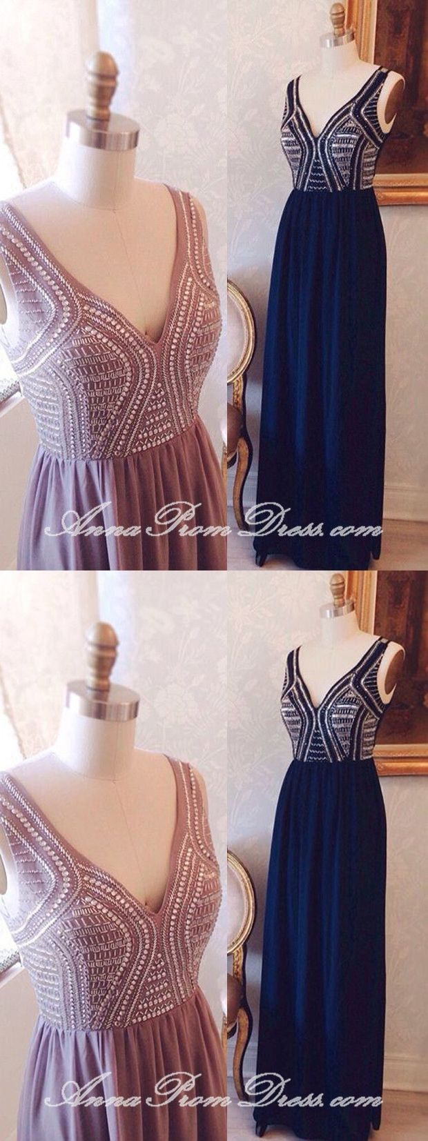 Chic prom dresses v neck a line floorlength beading long sexy prom