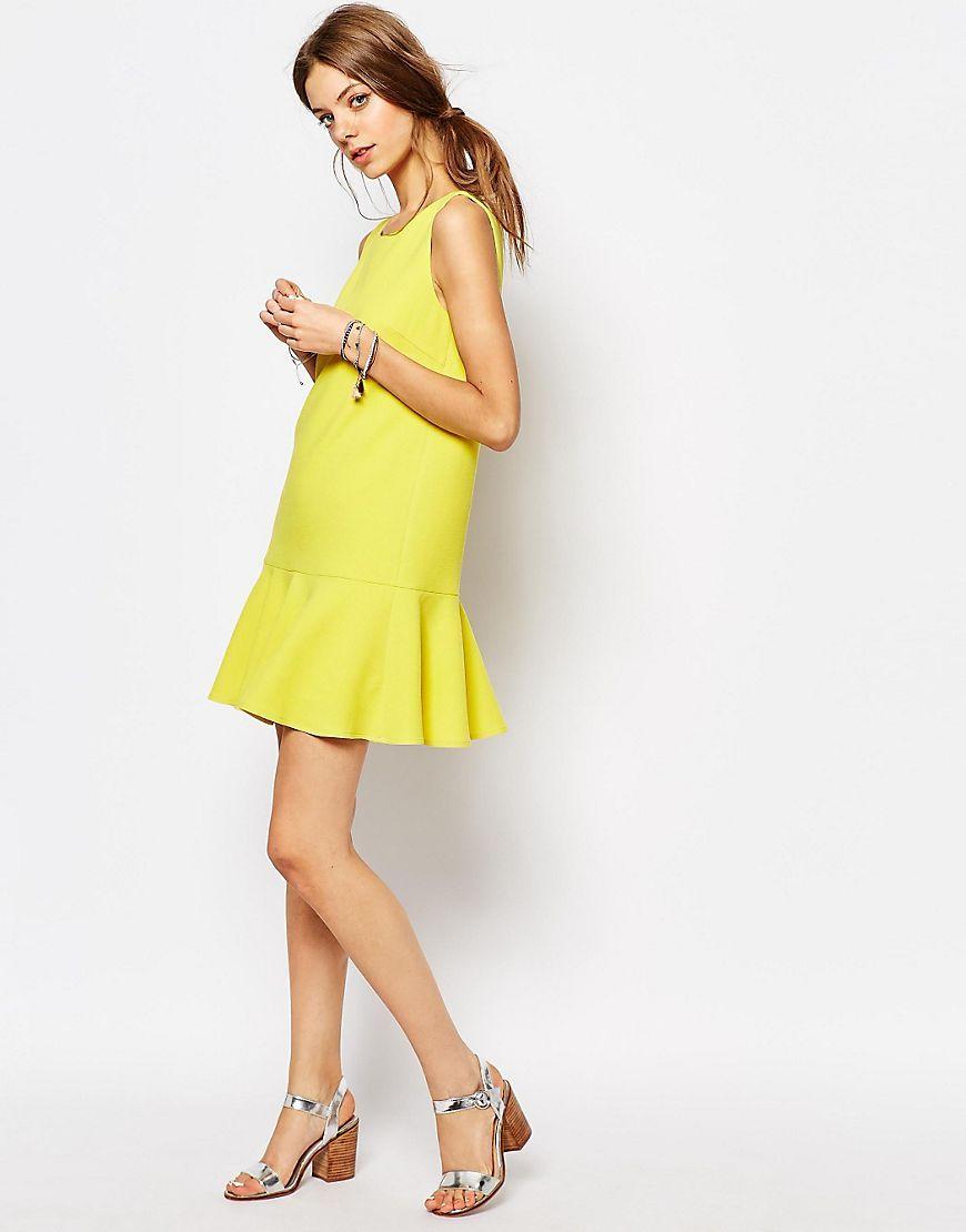 Image of suncoo drop waist dress in yellow amahoro meza